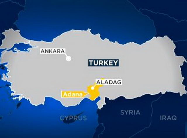 Пожар в города Адана на юге Турции